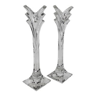 Mikasa Deco Single Candle Light Candle Holder Rare Size 12 Inch - a Pair For Sale