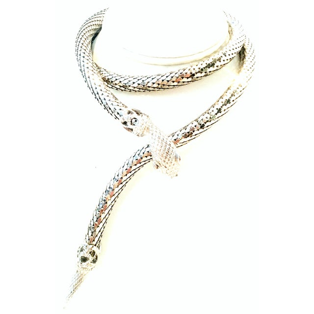 70's Silver Metal Mesh Coil Snake Whiting & Davis Necklace For Sale - Image 10 of 10