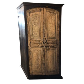 1920s Rustic Indian Wooden Armoire Storage Wardrobe Cabinet For Sale