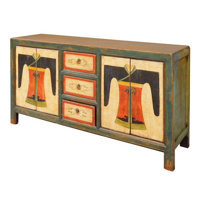 Chinese Distressed Graphic Console Table Cabinet cs2030C - Image 3 of 8