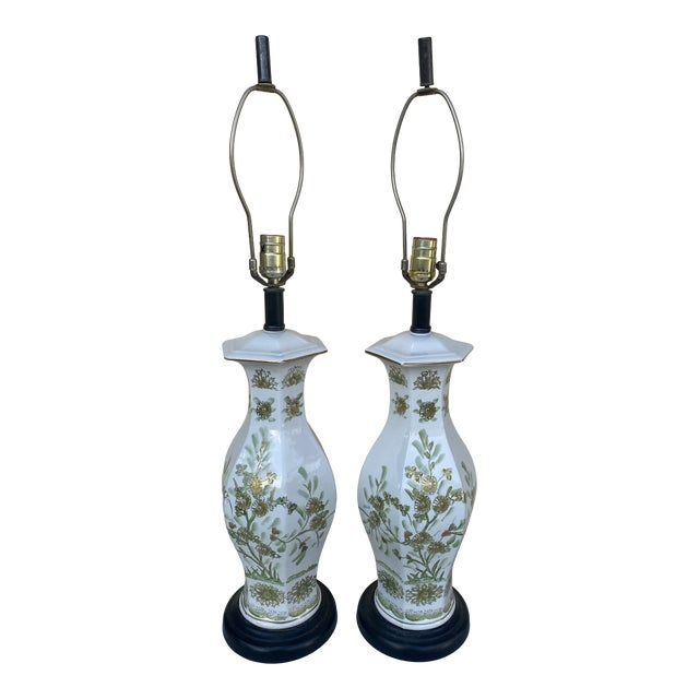 Oriental Style With Flowers Lamps - A Pair For Sale