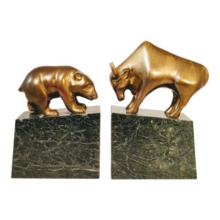 Mid Century Brass Marble Bulls and Bears Stock Market Bookends For Sale