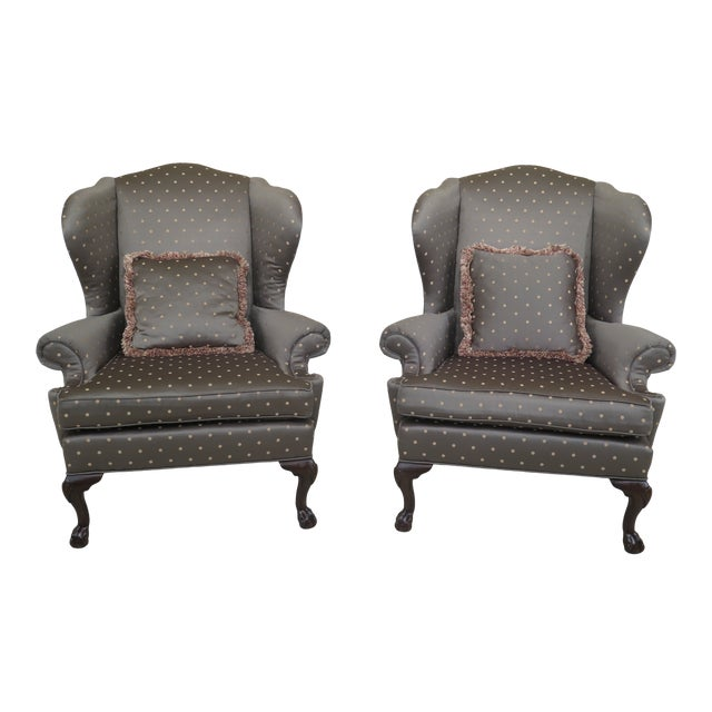 1990s Vintage Ethan Allen Ball & Claw Mahogany Wing Chairs- A Pair For Sale