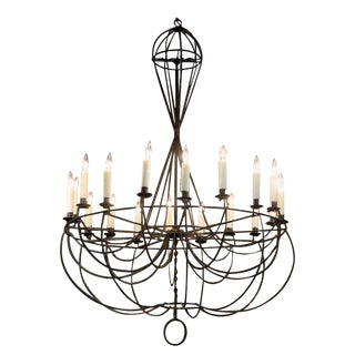 Large-Scale Vintage Wire Formed Chandelier For Sale