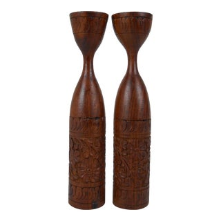 Mid-Century Indonesian Teak Candle Holders