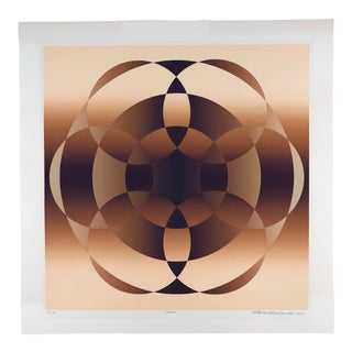 "1980s Original Mark Rowland ""Node"" Serigraph Op Art Screen Print For Sale"