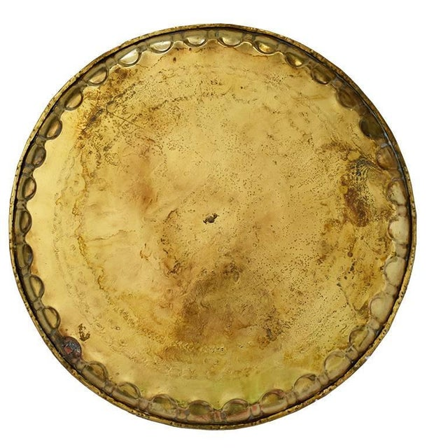 Islamic Early 20th Century Moroccan Round Hammered Brass Tea Tray For Sale - Image 3 of 6