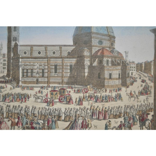 Antique Hand Colored Engraving of Florence, Italy - Image 4 of 8