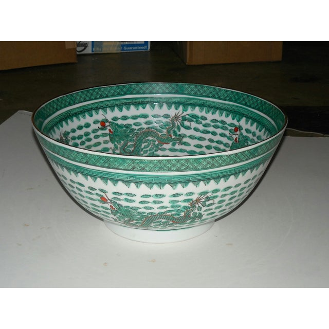 Mammoth Chinese Emerald Dragon Bowl - Image 2 of 7