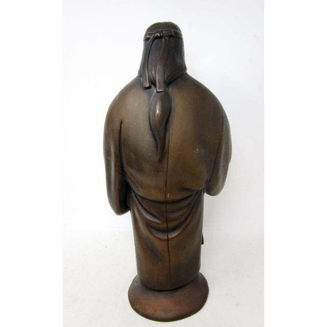 Japanese Farmer and Wife Bronze Figures - a Pair For Sale - Image 9 of 13