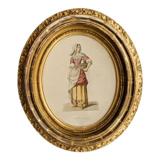 Antique Print Portrait of a 17th Century French Woman With Glorious Gold Oval Frame