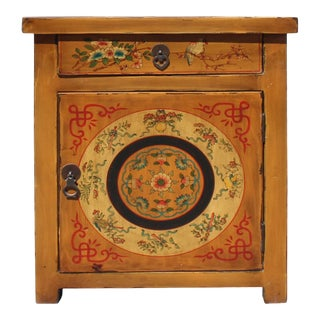 Chinese Oriental Distressed Mustard Yellow Graphic End Table Nightstand For Sale