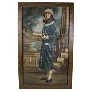"Deco Era Hand Colored ""Fashionable Woman"" Photograph For Sale"
