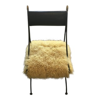 Vintage Black Leather Swan Chair With Yellow Mongolian Lamb Seat