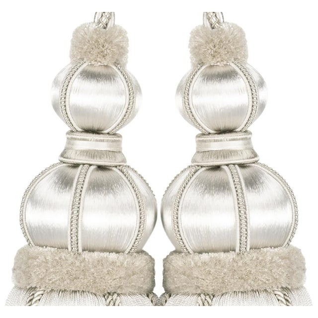 """2010s Ivory Double Tassel Tieback With Cut Ruche - Tassel Height 17"""" For Sale - Image 5 of 8"""