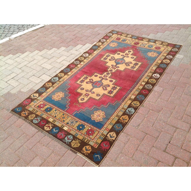 One of a kind hand made Anatolian. This gorgeous hand knotted area rug was made in the 1940's by Anatolian tribes....