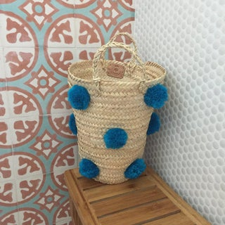 Moroccan Turquoise Pompom Basket Preview