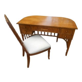 Mid-Century American of Martinsville Faux Bamboo Desk & Chair - A Pair