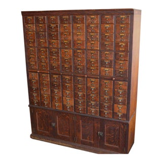 Card Catalog File Cabinet From Chicago Library, Solid Oak, Early 20th Century