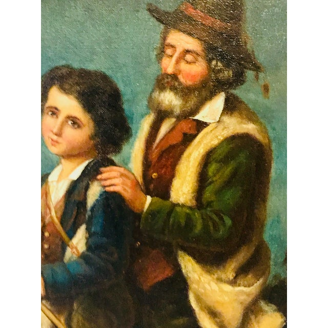 French 19th Century French Peasants, Oil on Canvas For Sale - Image 3 of 5