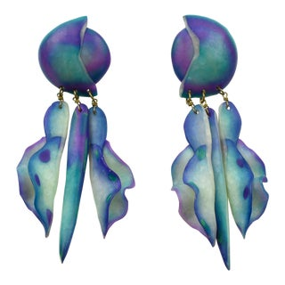 Designer Studio Oversized Turquoise Blue Purple Carved Resin Pierced Earrings For Sale