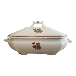 Wedgewood Copper Lustre Tea Leaf Covered Vegetable Dish For Sale