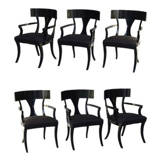 Set of Six Black Lacquer Klismos Armchairs, Manner of Robsjohn-Gibbings For Sale