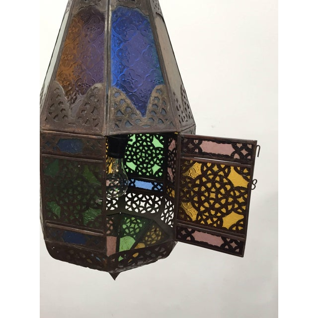 Moroccan Light Fixture With Colored Glass and Metal Filigree Moorish Designs For Sale - Image 4 of 10