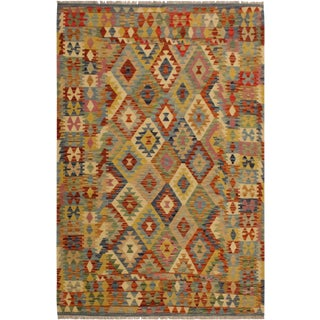 Elton Blue/Rust Hand-Woven Kilim Wool Rug -4'11 X 6'9 For Sale