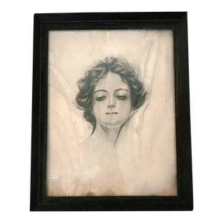 Vintage Black and White Portrait of Woman For Sale