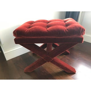 Mid Century Modern Hollywood Regency Rust Mohair Tufted X Bench Preview