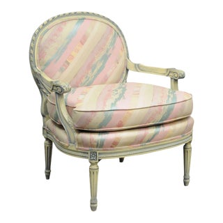 Vintage French Louis XVI Style Pink Blue Carved Bergere Boudoir Lounge Arm Chair