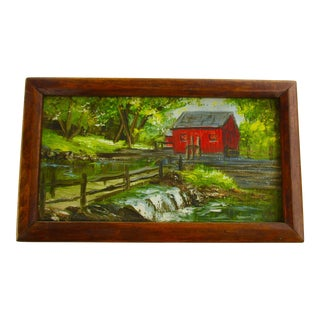 "Edith Dow 1972 ""Old Mill Pond, Red Barn House"" Painting"