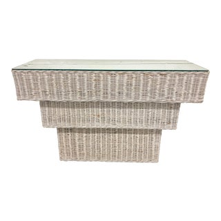 Vintage Boho Chic Rattan Basket Woven Console Table For Sale