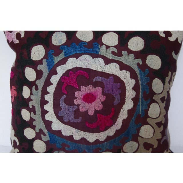 Vintage Handmade Needlework Suzani Throw Pillow Cover For Sale - Image 11 of 13