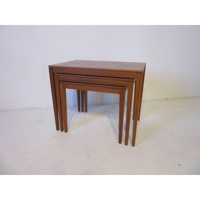 Contemporary Danish Teak Wood Nesting Tables by Bent Silberg Mobler - set of 3 For Sale - Image 3 of 6