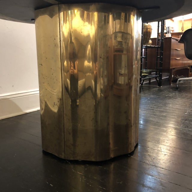 Italian Marble Table / Brass Base Table For Sale In San Antonio - Image 6 of 10