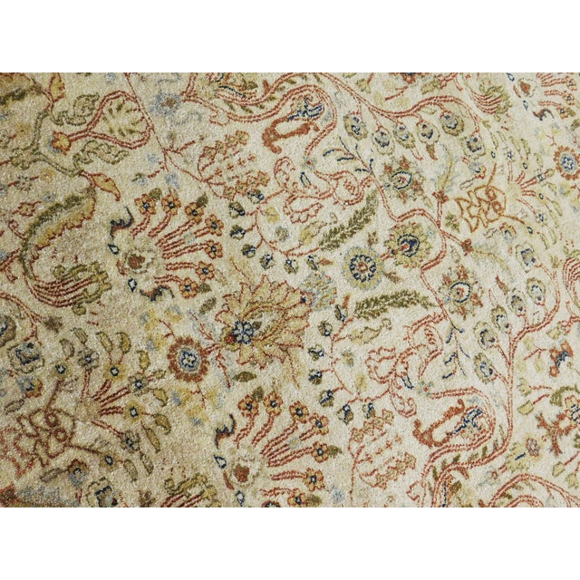 Indian hand knotted rug of Agra Design. Wool pile on cotton foundation.