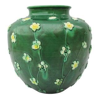 Antique Japanese Green Glazed Vase For Sale