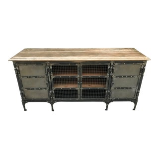 Modern Industrial Gold Finished Top Media Console For Sale