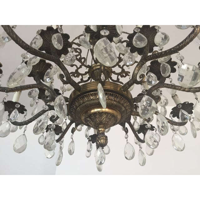 Antique Brass Crystal Chandelier - Image 3 of 5