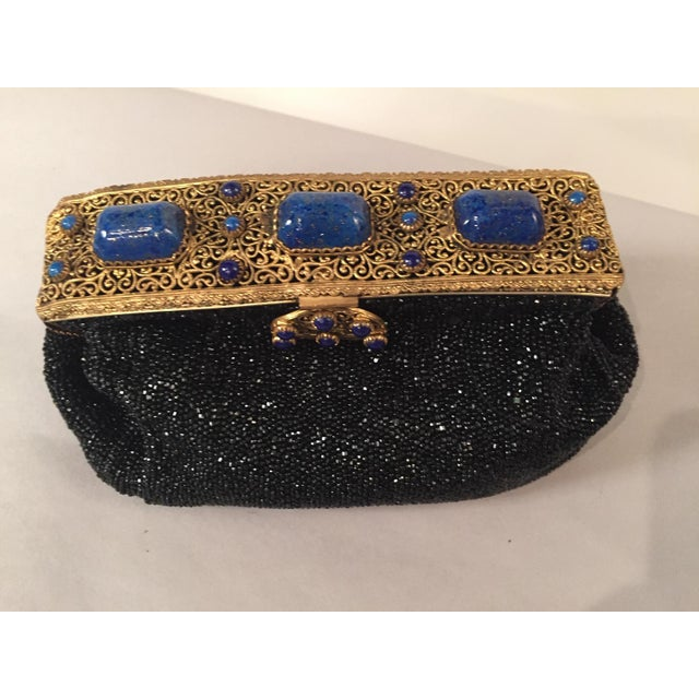 French Caviar Beaded Black Evening Bag With Lapis Lazuli and Gold Toned Wirework Frame For Sale - Image 10 of 10