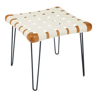 T.H. Robsjohn Gibbings Widdicomb Strap Footstool Bench For Sale