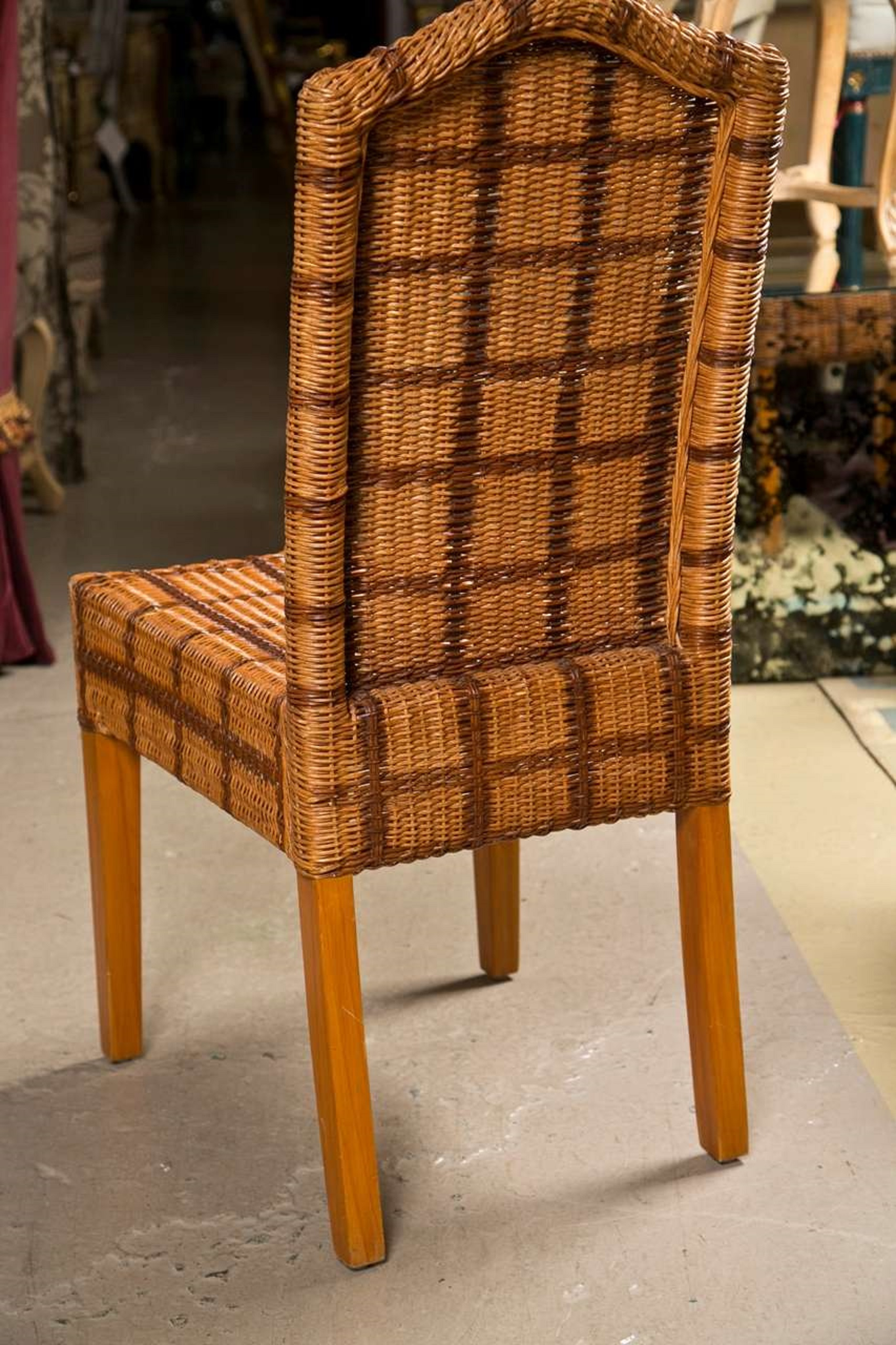 1970s Palecek Wicker Side Chairs   Set Of 4 For Sale   Image 5 Of 7