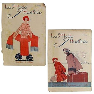 C.1920 French Fashion Magazines, Pair For Sale