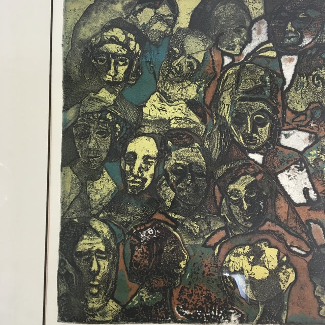"""1970s """"Night People"""" Figurative Etching by Lucile H. Sanders, Framed For Sale In Washington DC - Image 6 of 9"""