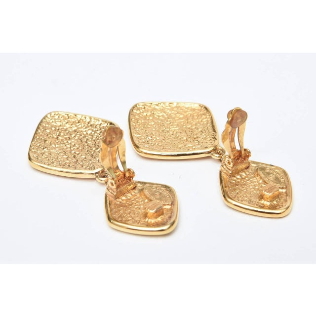 Metal Chanel Marked Double Criss Cross Hanging Clip on Earrings - a Pair For Sale - Image 7 of 9