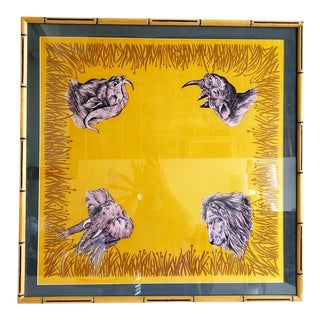 Vintage Framed Silk Safari Style Scarf in Wooden Carved Faux Bamboo Frame For Sale