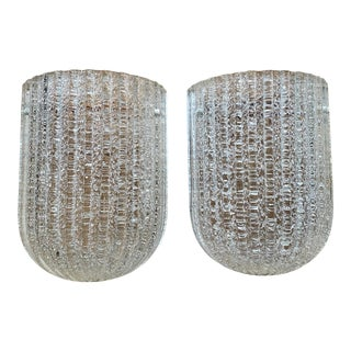 Vintage 1950's Barovier + Toso Italian Murano Glass Wall Sconces - a Pair For Sale