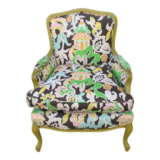 Chinoiserie Pagoda Bergere Chair For Sale